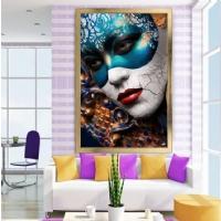 Mavi Maskeli Kadın Çerçeveli Kanvas Tablo
