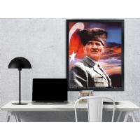 04 Atatürk Siyah Çerçeveli Kanvas Tablo