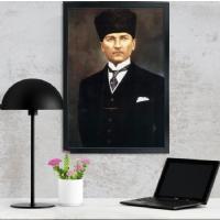 08 Atatürk Siyah Çerçeveli Kanvas Tablo
