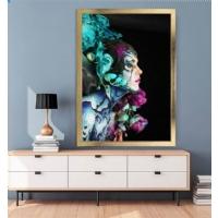 Renkli Çiçekli Kadın Çerçeveli Kanvas Tablo