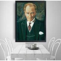 13 Atatürk Siyah Çerçeveli Kanvas Tablo