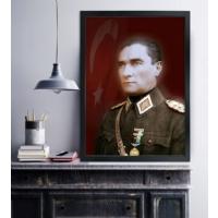14 Atatürk Siyah Çerçeveli Kanvas Tablo