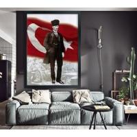 16 Atatürk Siyah Çerçeveli Kanvas Tablo