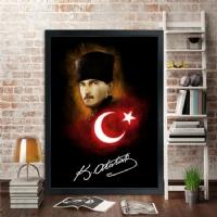 17 Atatürk Siyah Çerçeveli Kanvas Tablo