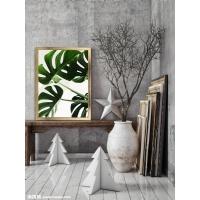 Yeşil Yaprak Model Çerçeveli Kanvas Tablo