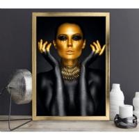AYK-13 Gold Yüzlü Kadın Çerçeveli Kanvas Tablo