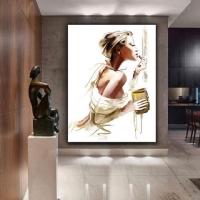 Ruj Süren Kadın Sim İşlemeli Kanvas Tablo
