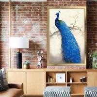 Mavi Tavus Kuşu Çerçeveli Kanvas Tablo