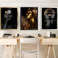 Gold Renk Afrikalı Kadınlar Çerçeveli Kanvas Tablo Seti