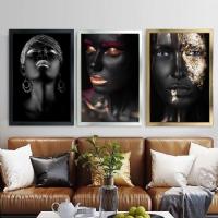 Karışık Renk Siyahi Kadınlar Çerçeveli Kanvas Tablo Seti