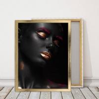 Makyajlı Siyahi Kadın Çerçeveli Kanvas Tablo
