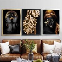 Yapraklı Siyahi Kadın 3 Lü Çerçeveli Kanvas Tablo