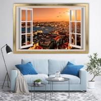 Pencere Manzaralı Çerçeveli Kanvas Tablo
