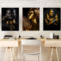 Gold Siyahi Kadın Kanvas Tablo Kombin