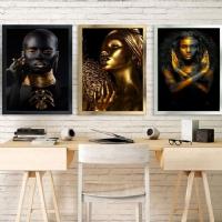 Gold Siyahi Kadın 3 Lü Çerçeveli Kanvas Tablo Kombin
