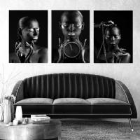 Gümüş Siyahi Kadınlar 3lü Kombin Kanvas Tablo