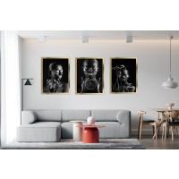 Gümüş Siyahi Kadınlar 3lü Kombin Çerçeveli Kanvas Tablo