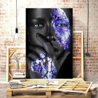 Düşünen Siyahi Kadın Mavi Renk KANVAS TABLO