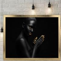 Elleri Yanda Siyahi Kadın Çerçeveli Kanvas Tablo