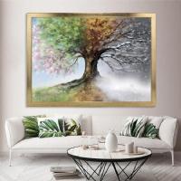 AYK-039 4 Mevsim Kare Ağaç Sim İşlemeli Çerçeveli Kanvas Tablo