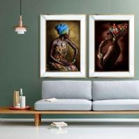Afrikalı 2 Li Ayna Çerçeveli Kanvas Tablo Seti