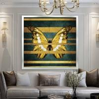 Altın Kelebek Kare Kanvas Tablo Sim İşlemeli