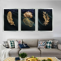 Altın Yapraklar 3Lü Çerçeveli Kanvas Tablo Seti Simsiz