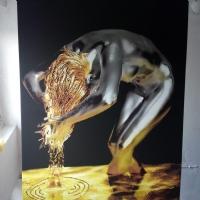 GOLD SİM İŞLEMELİ ALTIN SAÇLI  NÜ KADIN KANVAS TABLO