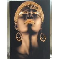 Bronz Sim İşlemeli Siyahi Kadın Kanvas Tablo