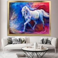 Yağlıboya Görünümlü Beyaz At Çerçeveli Kanvas Tablo