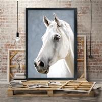 Beyaz At Siyah Çerçeveli Kanvas Tablo