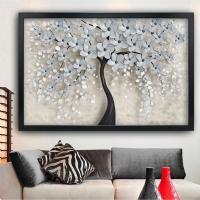 Beyaz Çiçekler Siyah Çerçeveli Kanvas Tablo