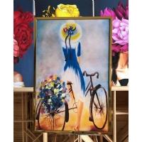 Bisikletli Kız Yağlıboya Dokulu Çerçeveli Tablo