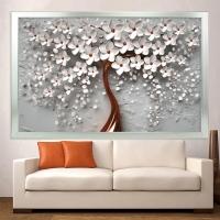 Bronz Sim İşlemeli Beyaz Çiçekler Kanvas Tablo