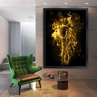 Sarı Renk Cehennemde Aşk Siyah Çerçeveli Kanvas Tablo