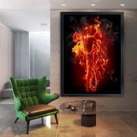 Ateş Rengi Cehennemde Aşk Siyah Çerçeveli Kanvas Tablo