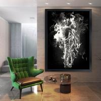 Gümüş Rengi Cehennemde Aşk Siyah Çerçeveli Kanvas Tablo
