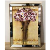 Ayna Çerçeveli Tablo Çiçek Demeti Sim İşlemeli