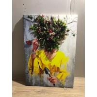 Çiçek Kadın Yapay Çiçekli Kanvas Tablo