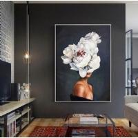 Sim İşlemeli Çiçek Kafalı Kadın Gümüş Çerçeveli