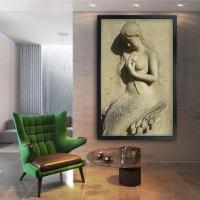 Deniz Kızı Siyah Çerçeveli Kanvas Tablo