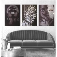 Gümüş Sim İşlemeli Siyahi Kadınlar Kanvas Tablo Kombini