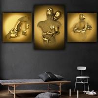 Simli Kanvas Tablo Gold Çelik Serisi Sim İşlemeli