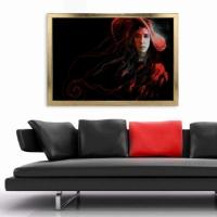 Kırmızı-Siyah Şapkalı Kadın Çerçeveli Kanvas Tablo