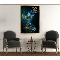 Mavi Kelebek Çerçeveli Kanvas Tablo
