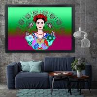Frida Kahlo Siyah Çerçeveli Kanvas Tablo