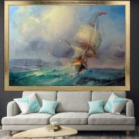 Yağlıboya Görünümlü Gemi Çerçeveli Kanvas Tablo