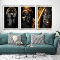 Gold Renk Afrikalı Kadınlar Ayna Çerçeveli Kanvas Tablo Seti