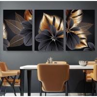 3´lü Kombin Sim İşlemeli Altın Renk Çiçekler Kanvas Tablo