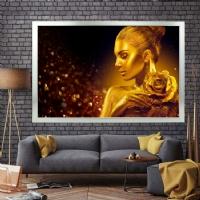 Gold Sim İşlemeli Güllü Kadın Kanvas Tablo